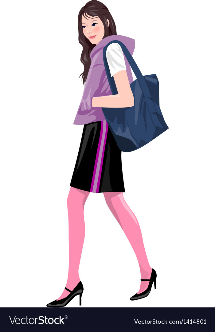 Woman with shopping bag vector | Price: 3 Credit (USD $3)