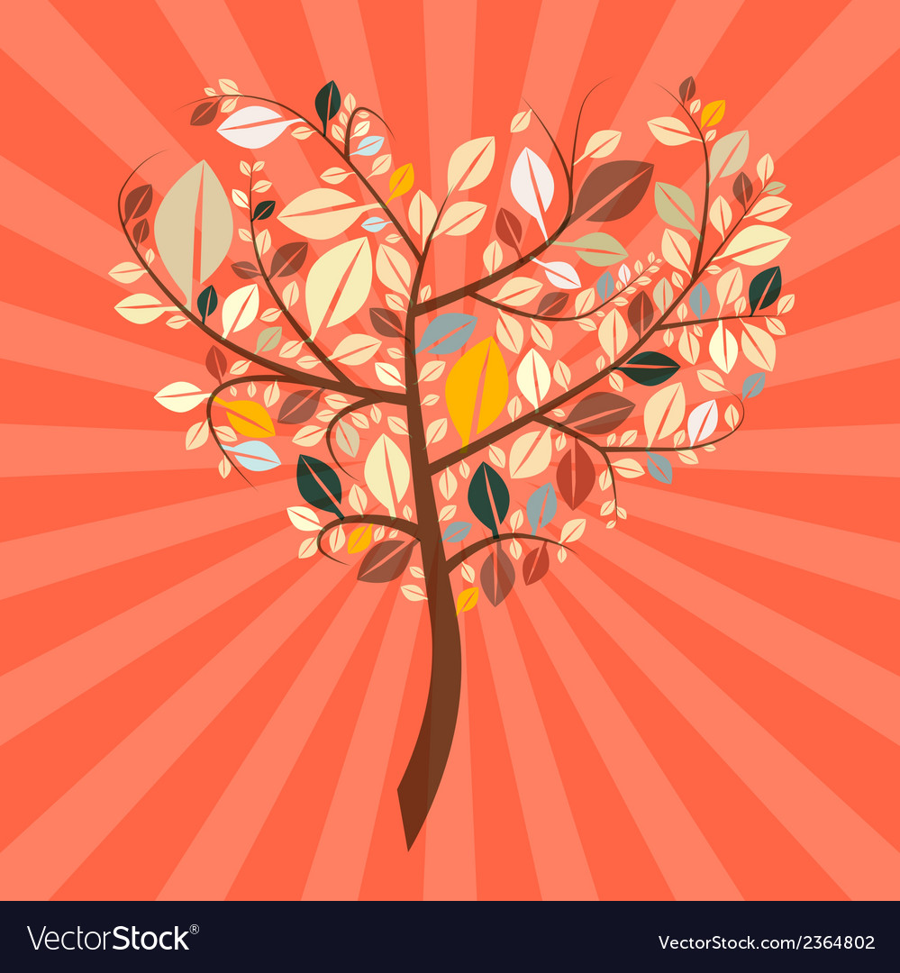 Abstract retro heart shaped tree vector | Price: 1 Credit (USD $1)