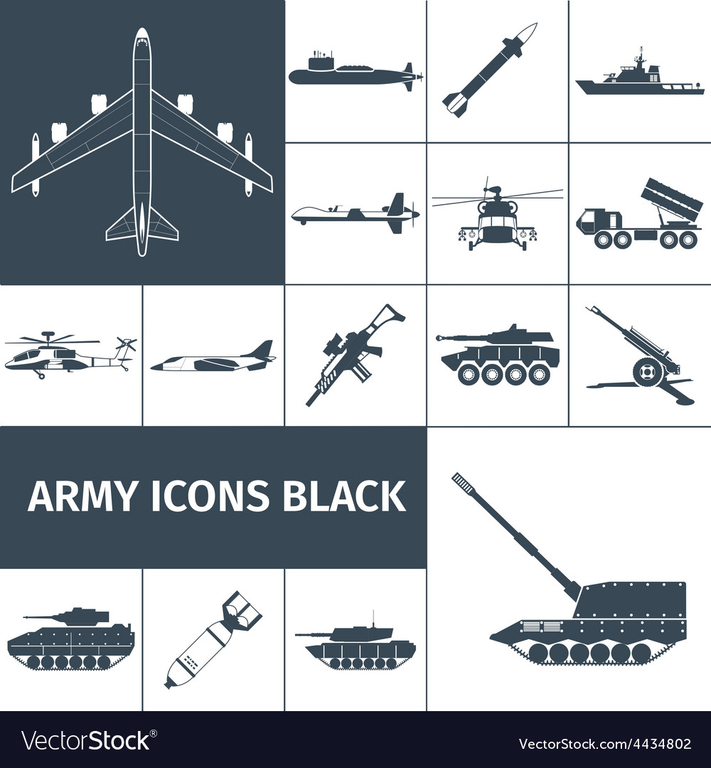 Army icons black vector | Price: 1 Credit (USD $1)