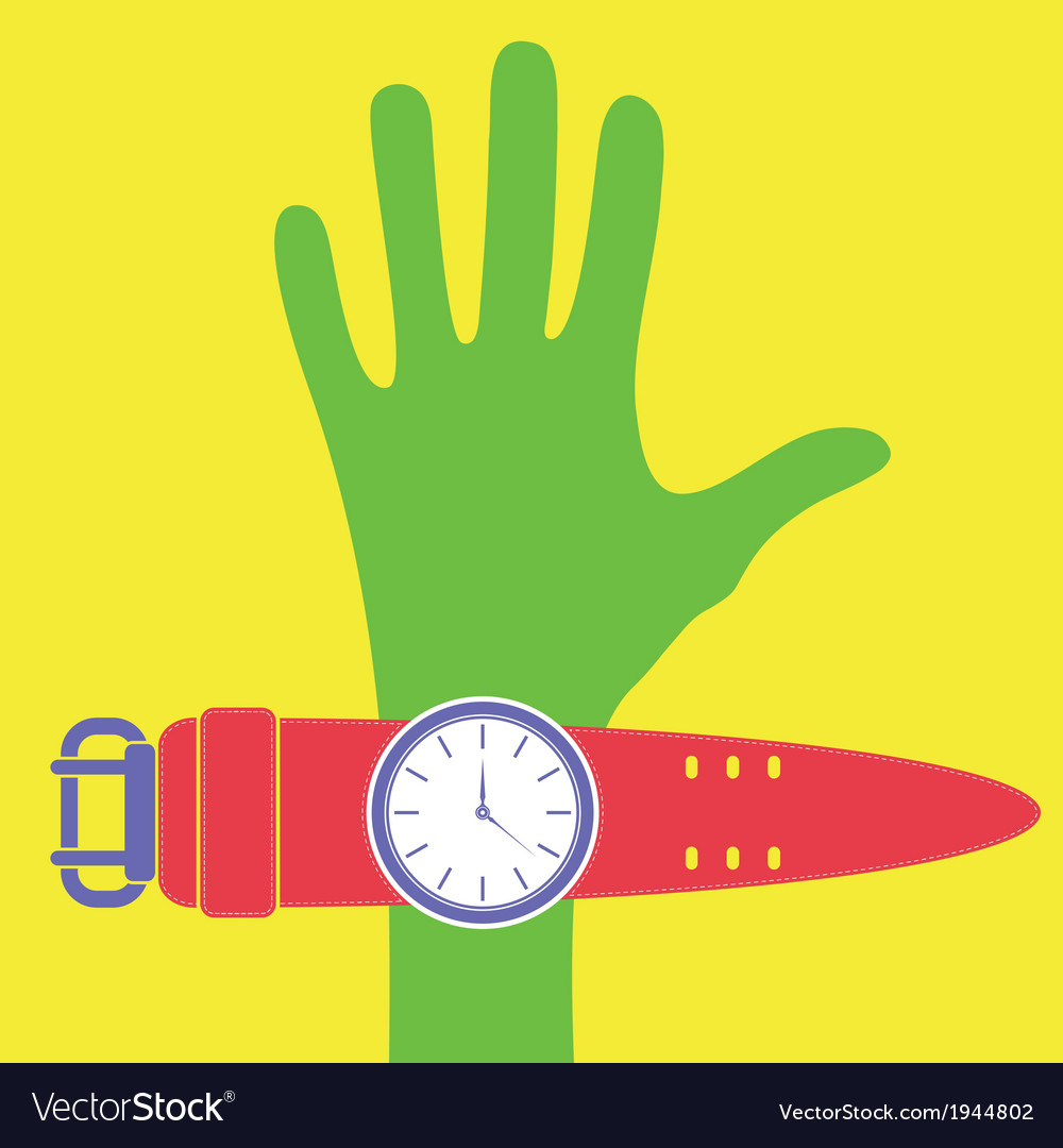 Cartoon hand with watch vector | Price: 1 Credit (USD $1)