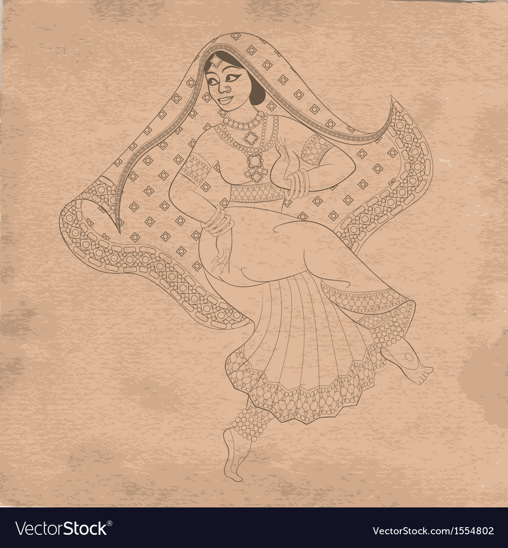 Dancing indian woman on old paper vector | Price: 1 Credit (USD $1)