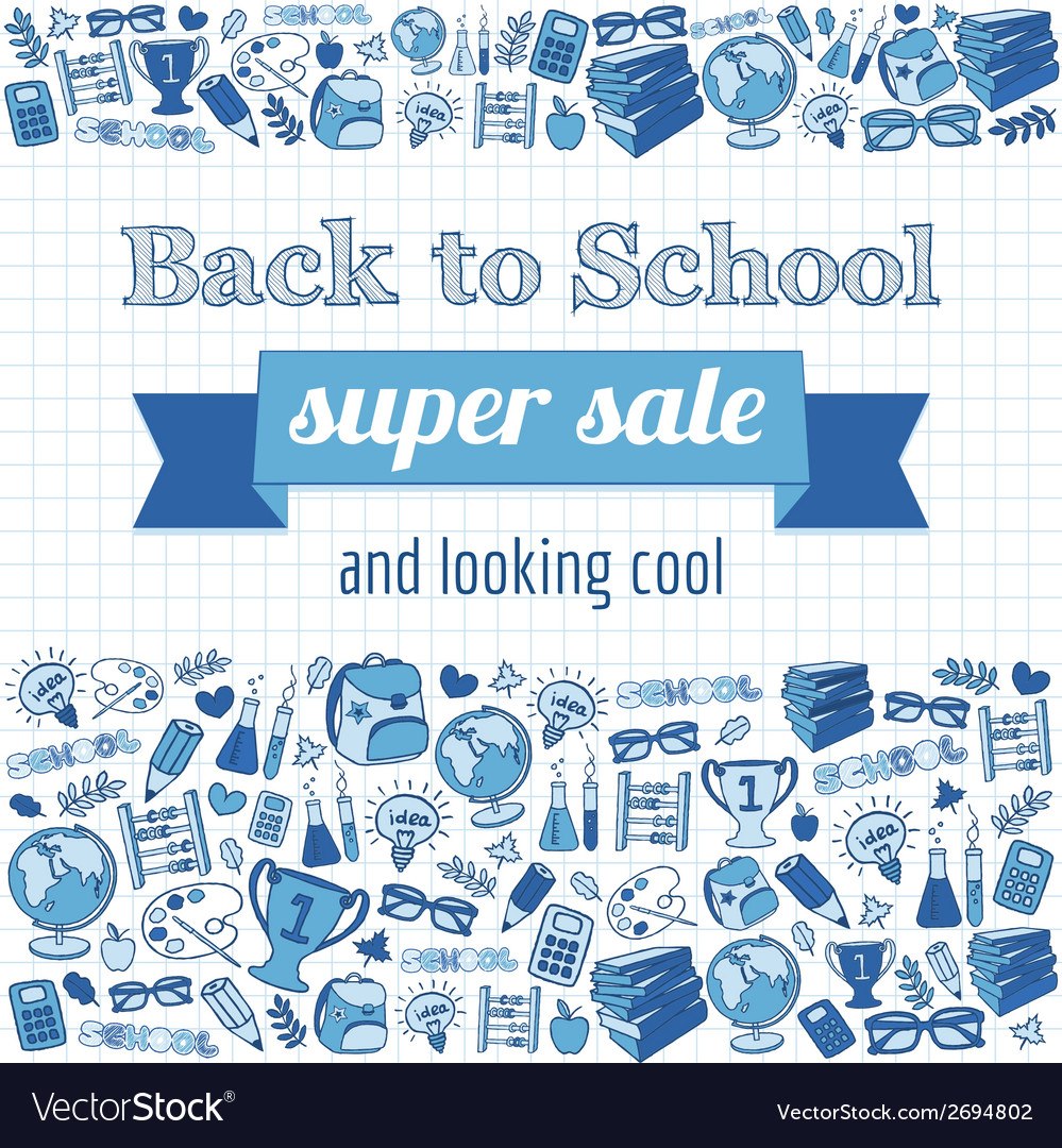 Doodle back to school super sale poster vector | Price: 1 Credit (USD $1)