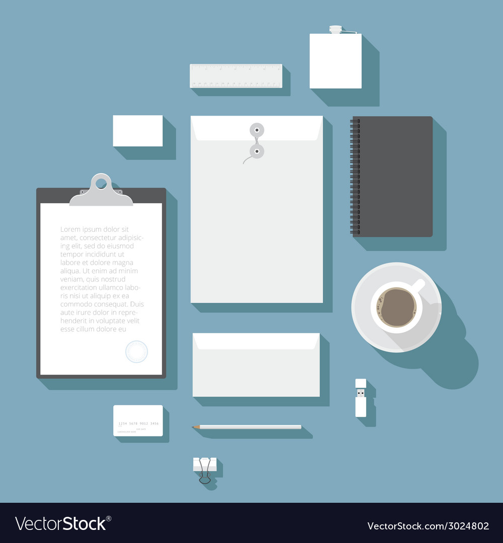 Flat design corporate identity mock-up template vector | Price: 1 Credit (USD $1)