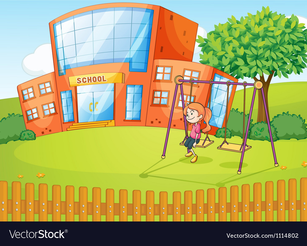 Girl and a school in beautiful nature vector | Price: 1 Credit (USD $1)