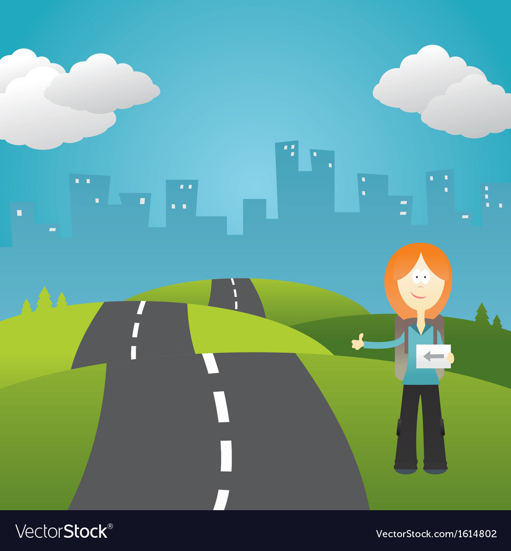 Girl hitchhiker vector | Price: 1 Credit (USD $1)