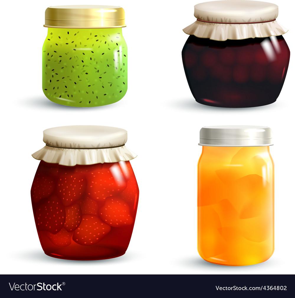 Jam jar set vector | Price: 1 Credit (USD $1)