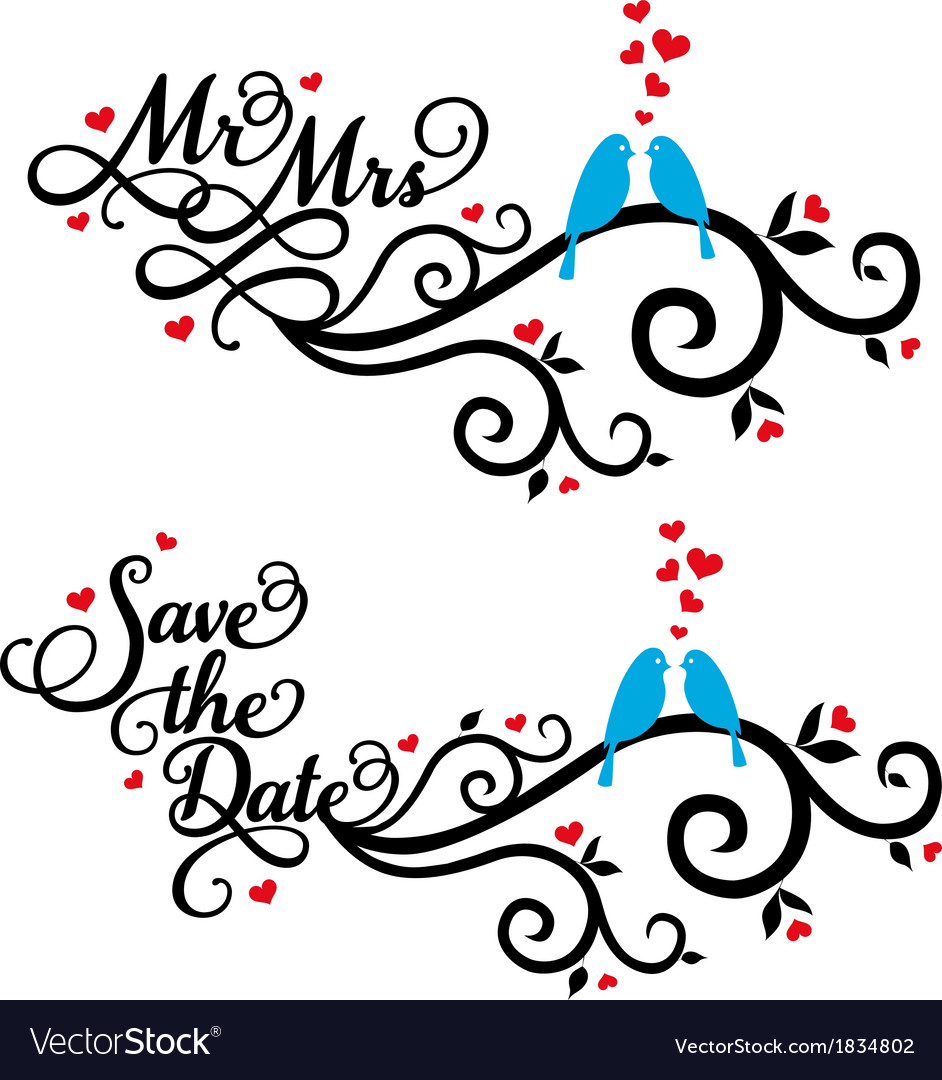 Mr and mrs save the date wedding birds vector | Price: 1 Credit (USD $1)