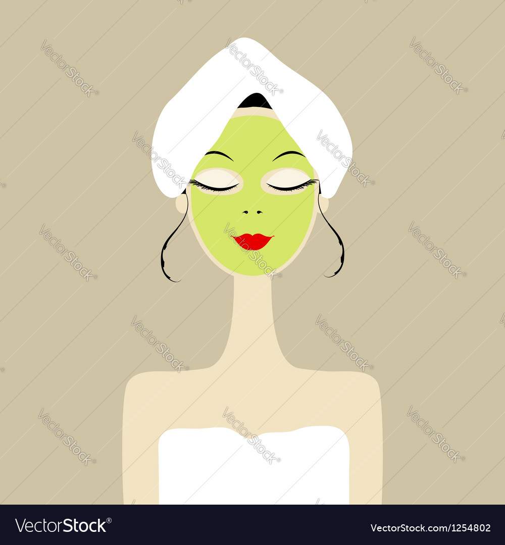 Pretty woman with cosmetic mask on face vector | Price: 1 Credit (USD $1)