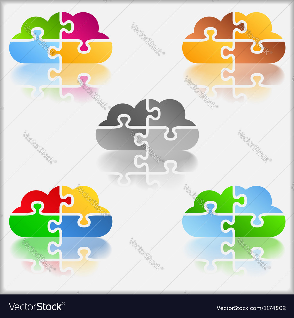 Puzzle cloud vector | Price: 1 Credit (USD $1)