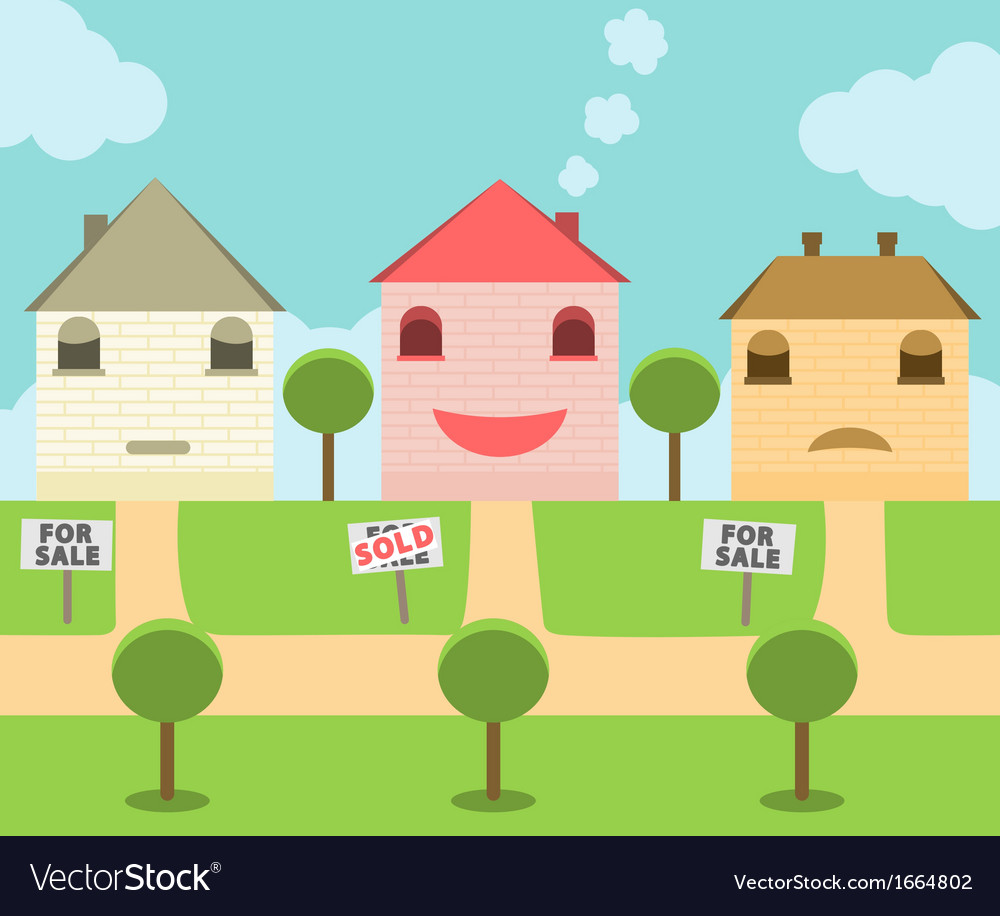Real state sold house vector | Price: 1 Credit (USD $1)