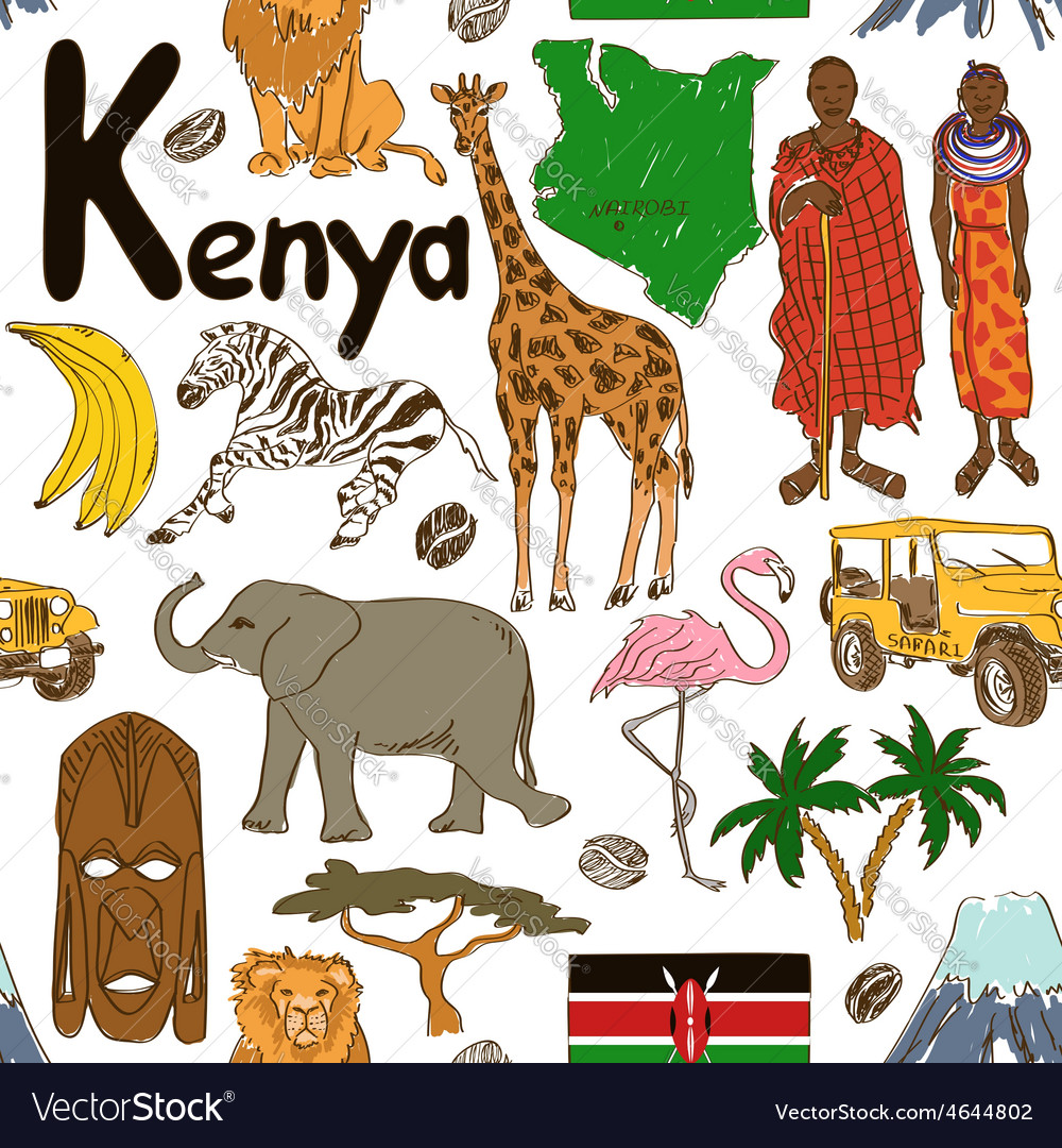 Sketch kenya seamless pattern vector | Price: 1 Credit (USD $1)