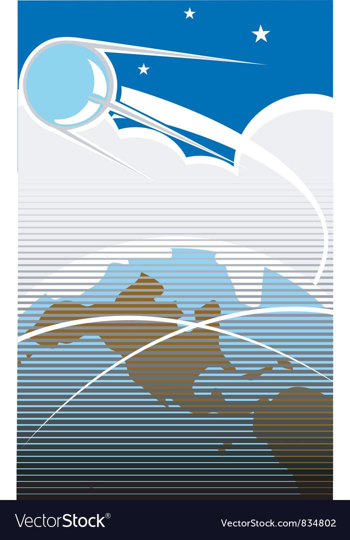 Sputnik in orbit vector | Price: 1 Credit (USD $1)