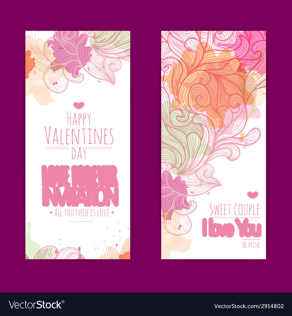 Valentines day background set of banners vector | Price: 1 Credit (USD $1)