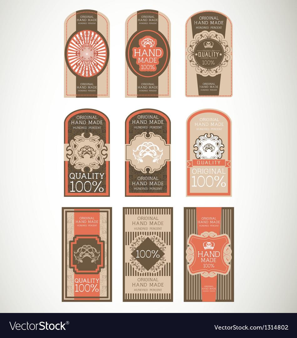 Vintage label style with nine design element vector | Price: 1 Credit (USD $1)