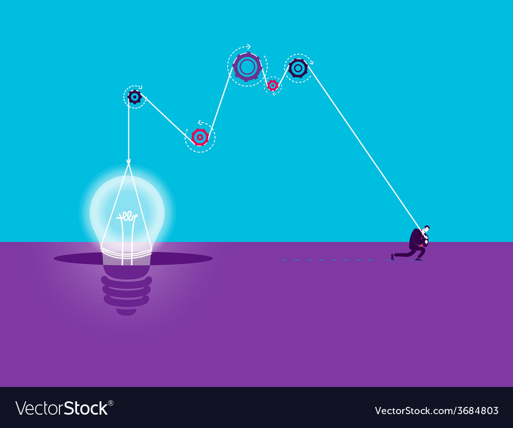 Business concept of strong man who make idea - vector | Price: 1 Credit (USD $1)