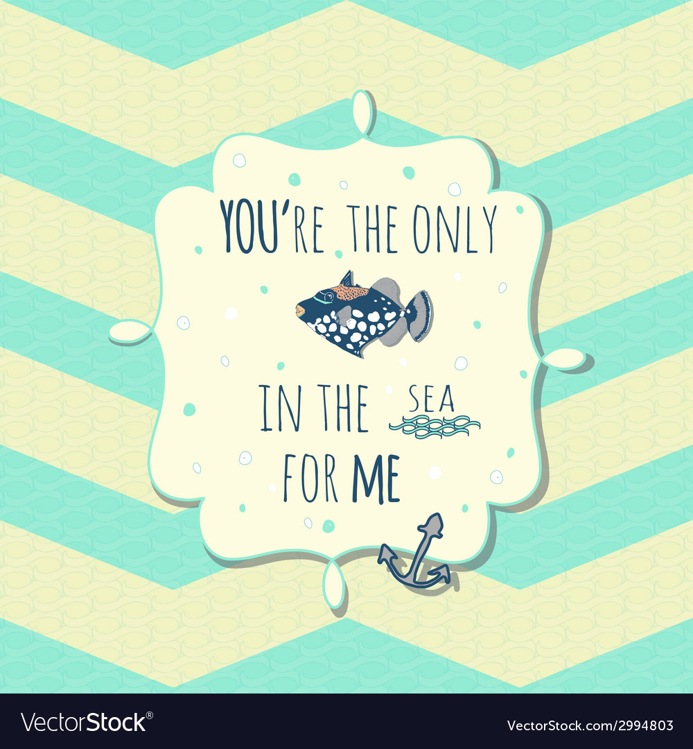 Card with cute fish and anchor in text box on vector | Price: 1 Credit (USD $1)