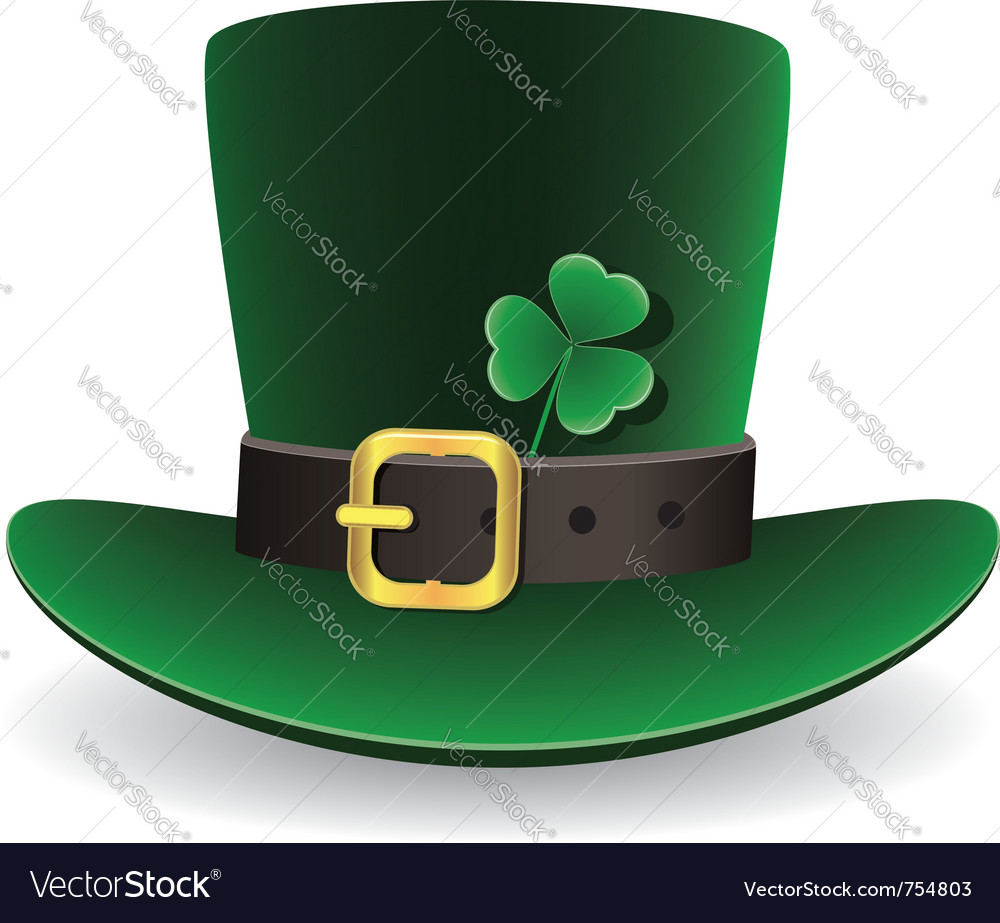 Green st patricks day hat with clover vector | Price: 1 Credit (USD $1)