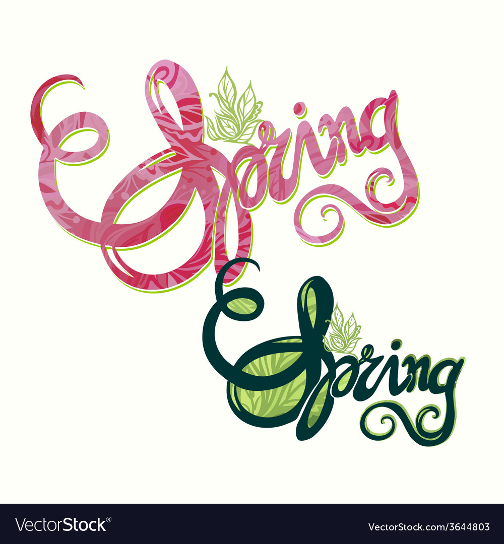 Handlettering spring inscription pattern vector | Price: 1 Credit (USD $1)