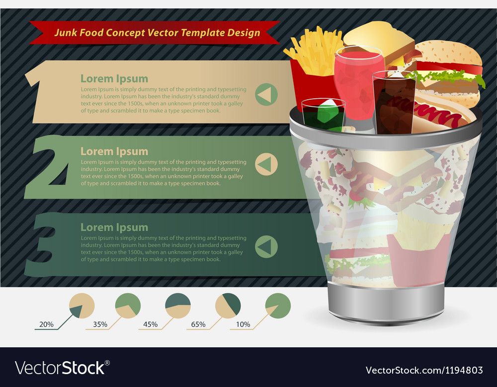 Junk food concept in the trash vector | Price: 1 Credit (USD $1)