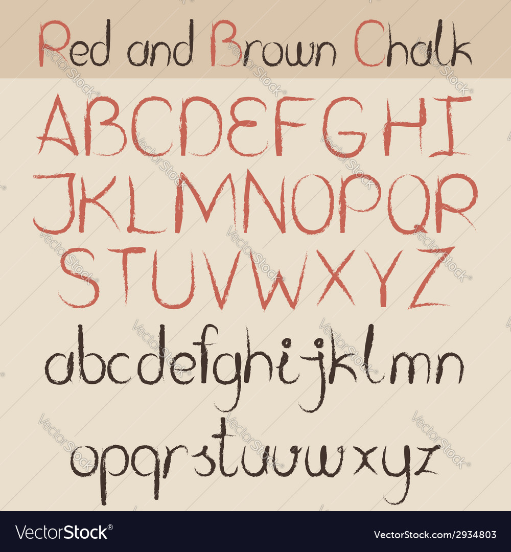 Red and brown chalk alphabet vector | Price: 1 Credit (USD $1)