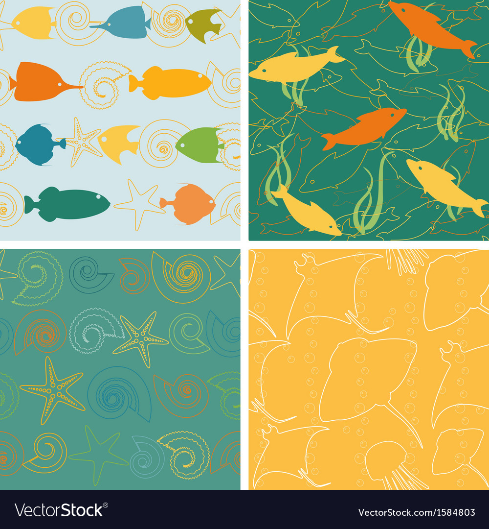 Sea life patterns collection 2 vector | Price: 1 Credit (USD $1)