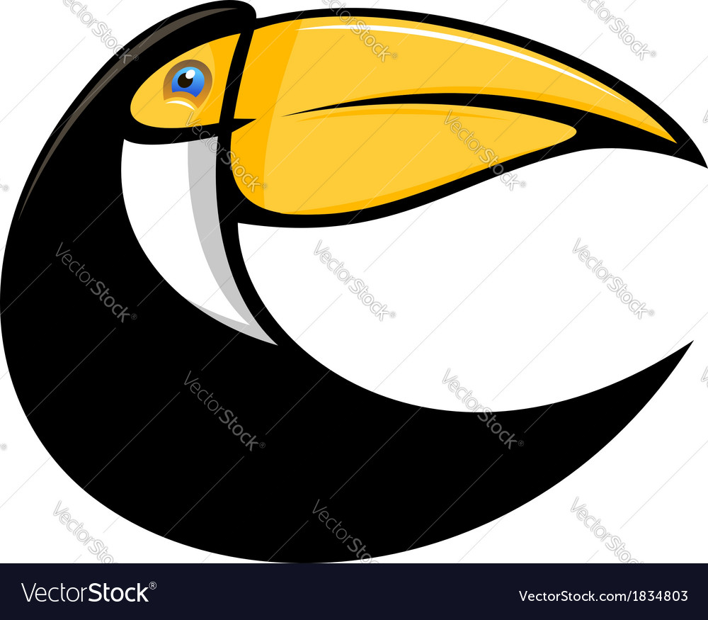 Stylized curved toucan bird vector | Price: 1 Credit (USD $1)