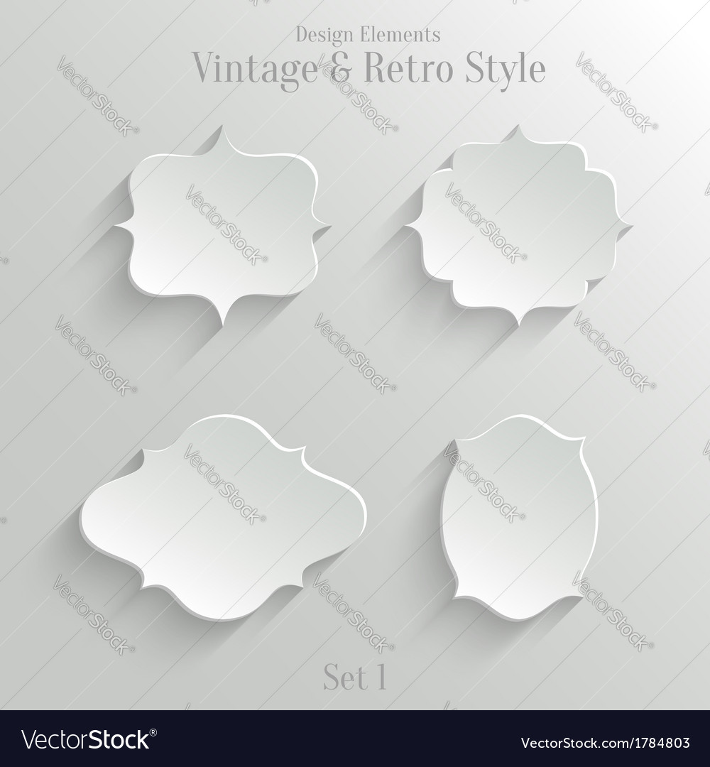 White paper banners set in vintage style vector | Price: 1 Credit (USD $1)
