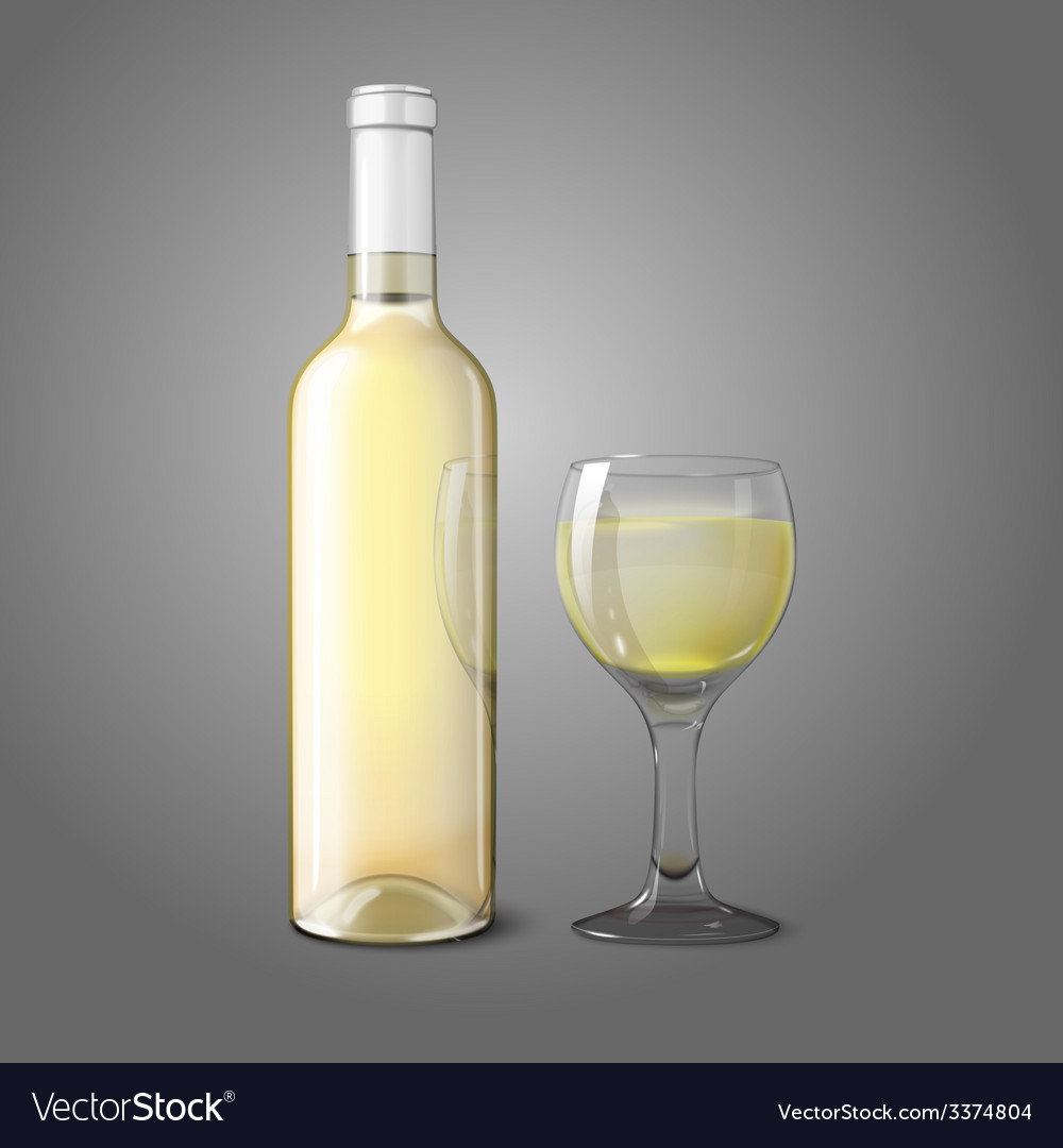 Blank realistic bottle for white wine with glass vector | Price: 3 Credit (USD $3)