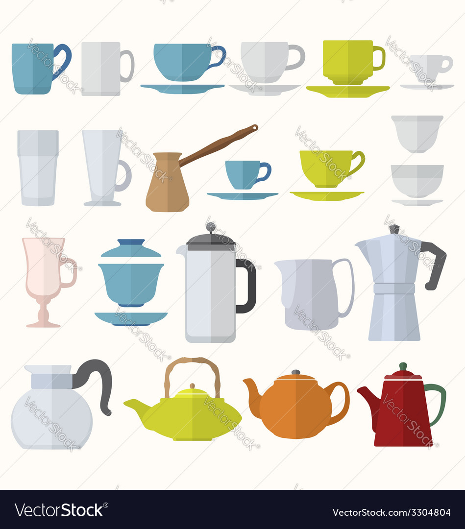 Flat style dinnerware cups mugs and pots set vector | Price: 1 Credit (USD $1)