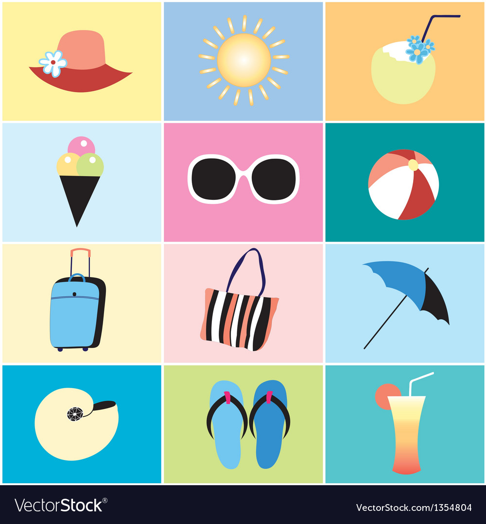 Icons to the summer recreation vector | Price: 1 Credit (USD $1)