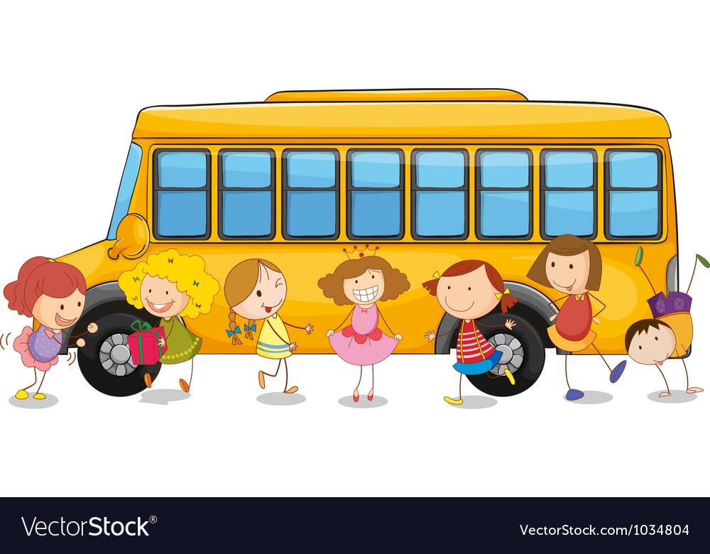 Kids and school bus vector | Price: 1 Credit (USD $1)