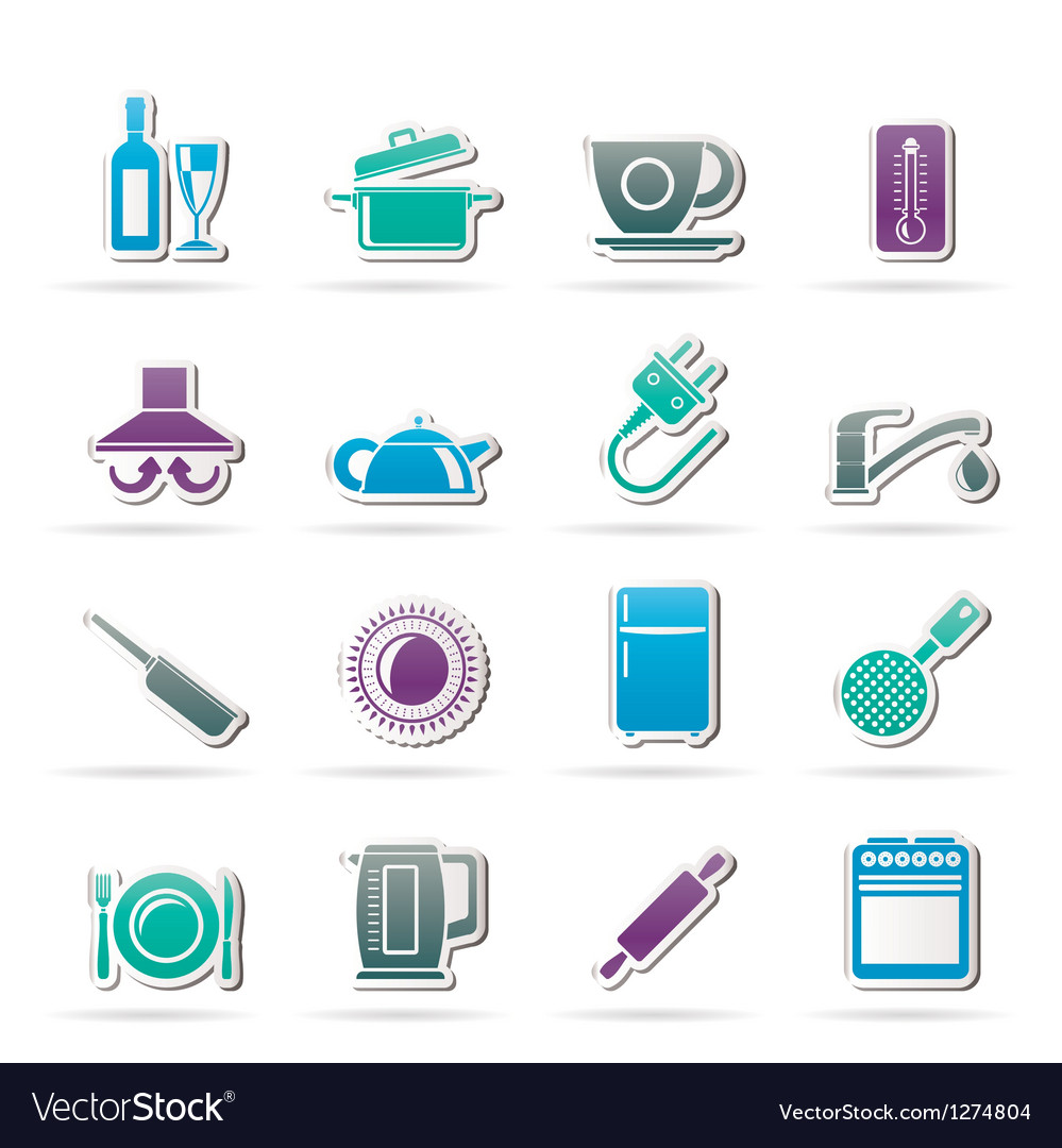 Kitchen objects and accessories icons vector | Price: 1 Credit (USD $1)