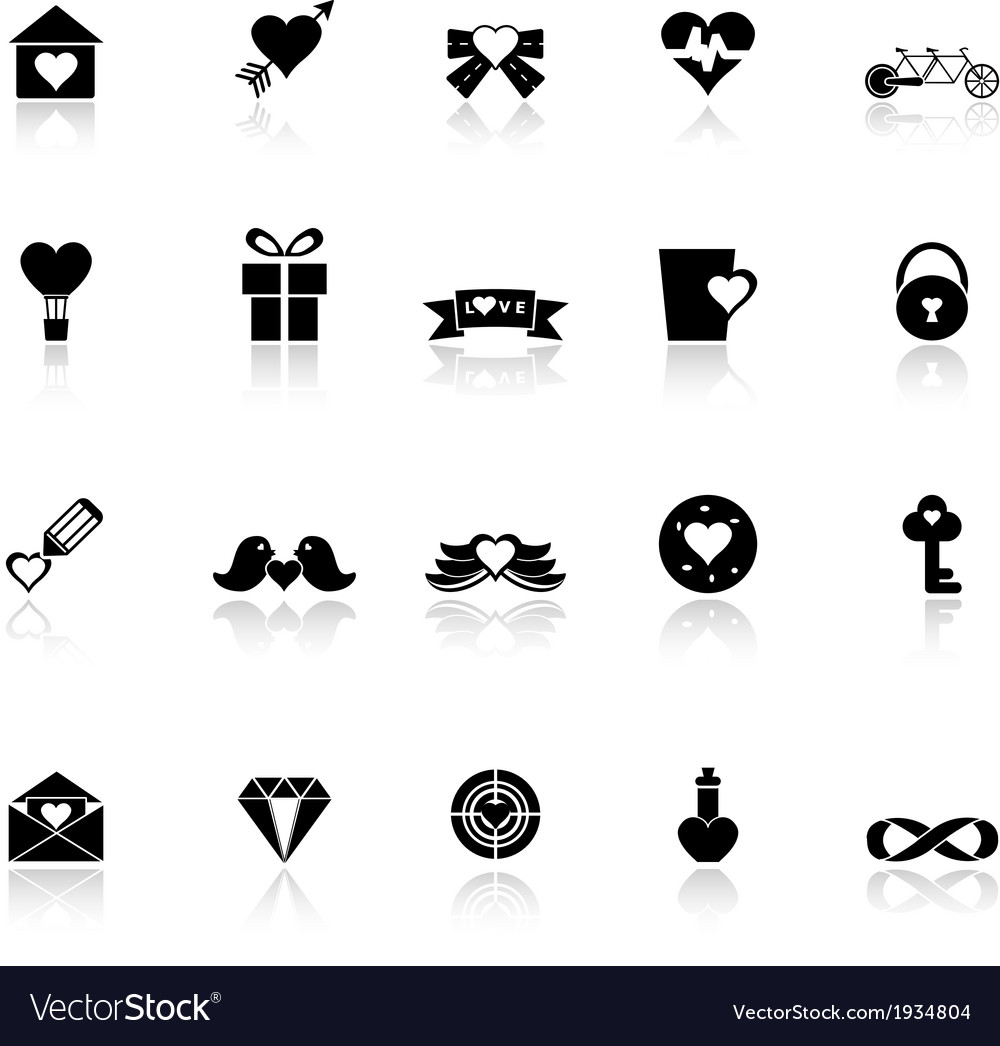 Love and heart icons with reflect on white vector   Price: 1 Credit (USD $1)