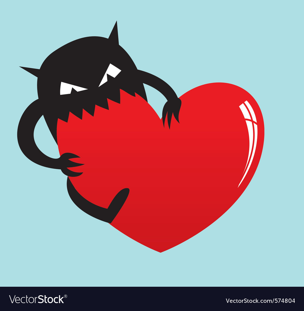 Monster eat love vector | Price: 1 Credit (USD $1)