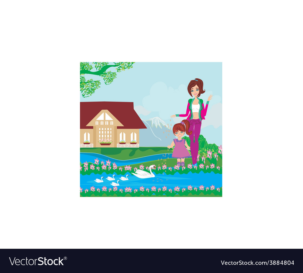 Mother and daughter feed the swans vector | Price: 1 Credit (USD $1)