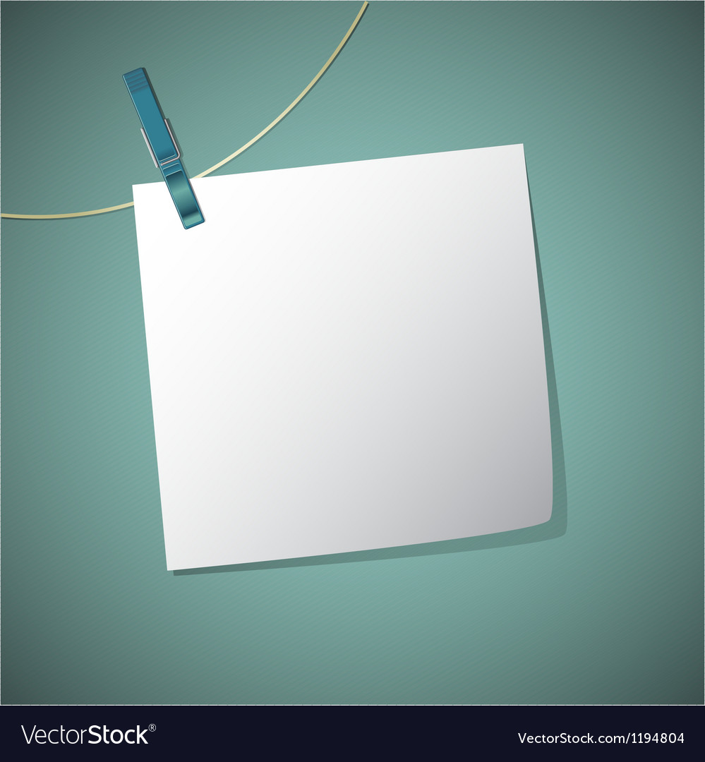 Note paper hang on string with clothes pin vector
