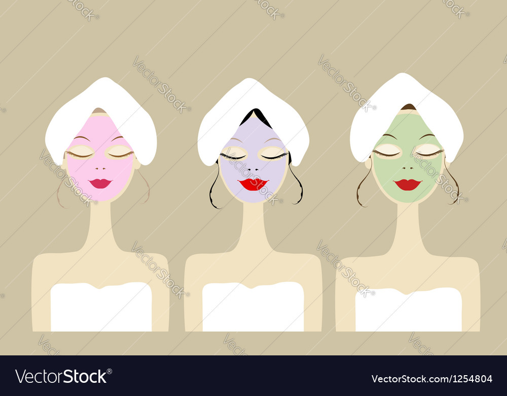 Pretty women with cosmetic mask on faces vector | Price: 1 Credit (USD $1)