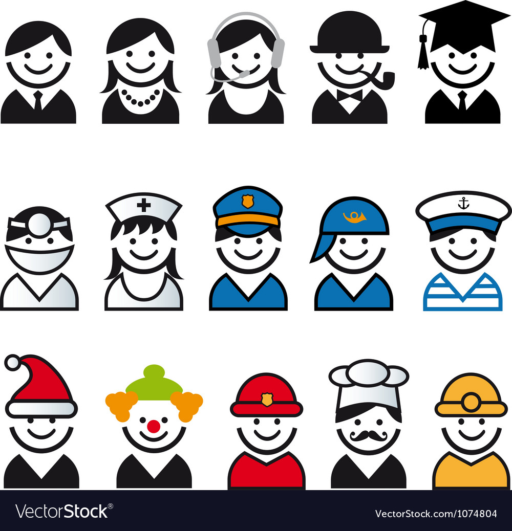 Professions people icon set vector | Price: 1 Credit (USD $1)