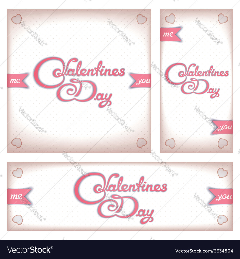 Retro banners and flyers for valentines day vector | Price: 1 Credit (USD $1)