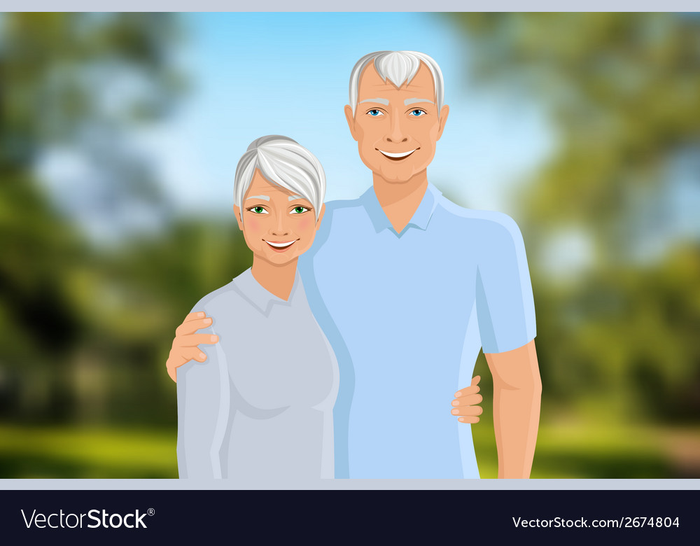Senior couple outdoor vector | Price: 1 Credit (USD $1)
