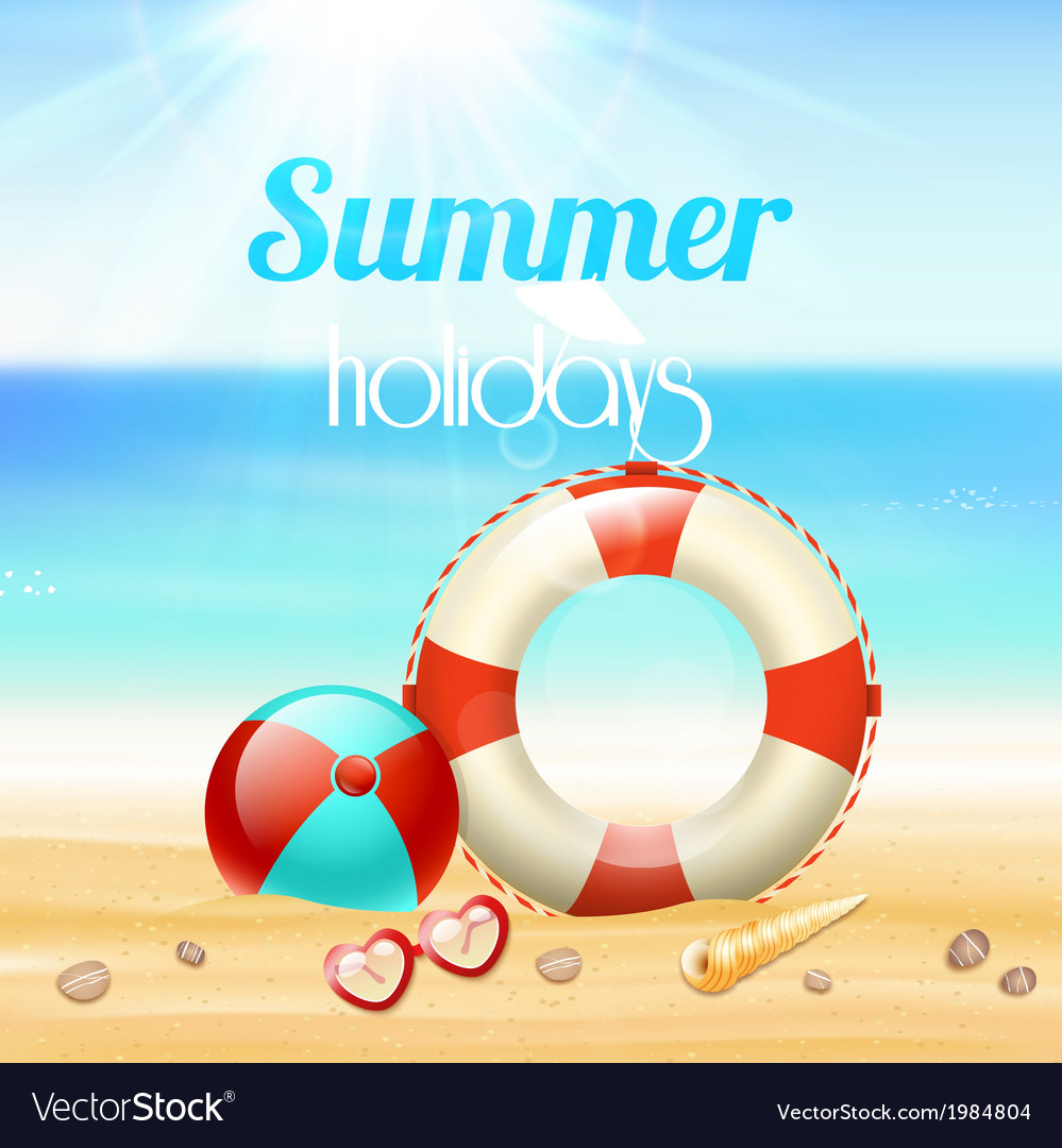 Summer holiday vacation travel background vector | Price: 1 Credit (USD $1)
