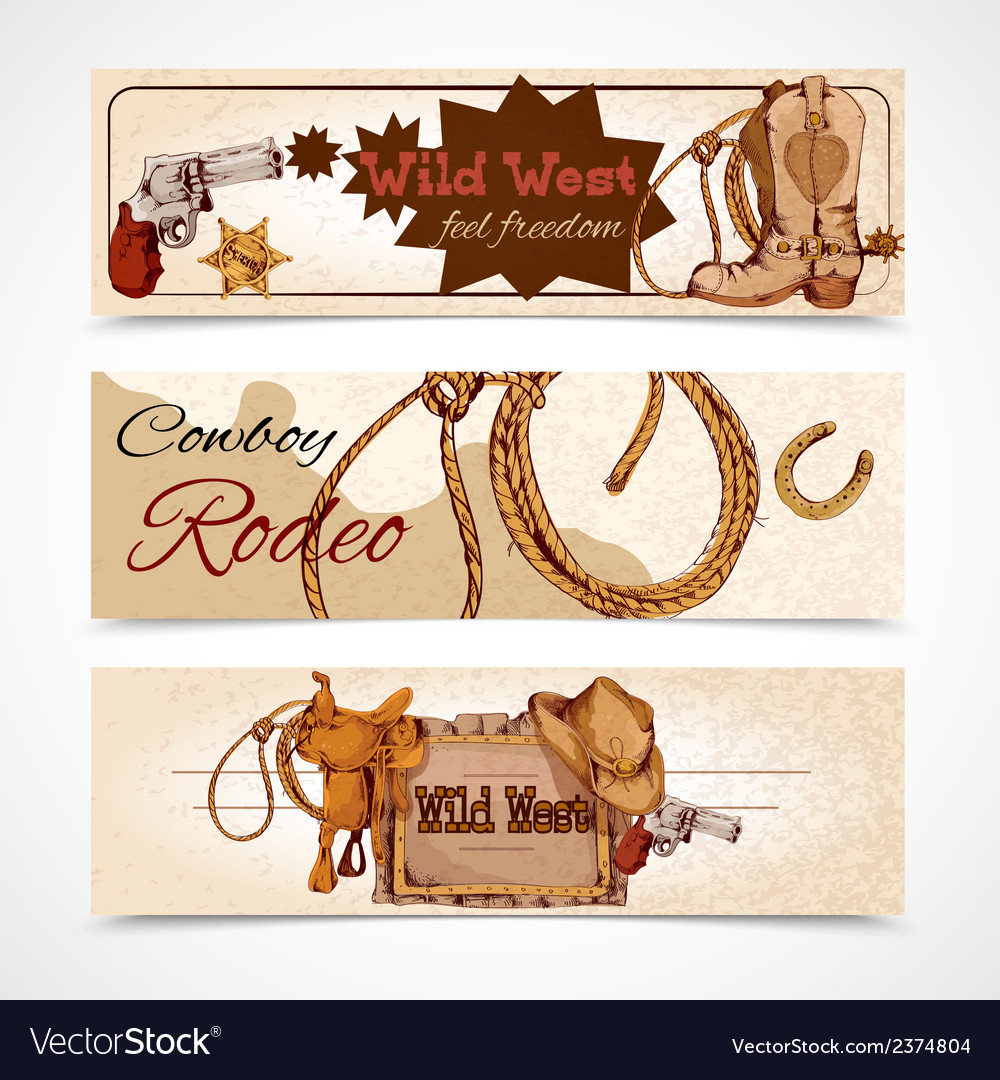 Wild west banners vector | Price: 1 Credit (USD $1)