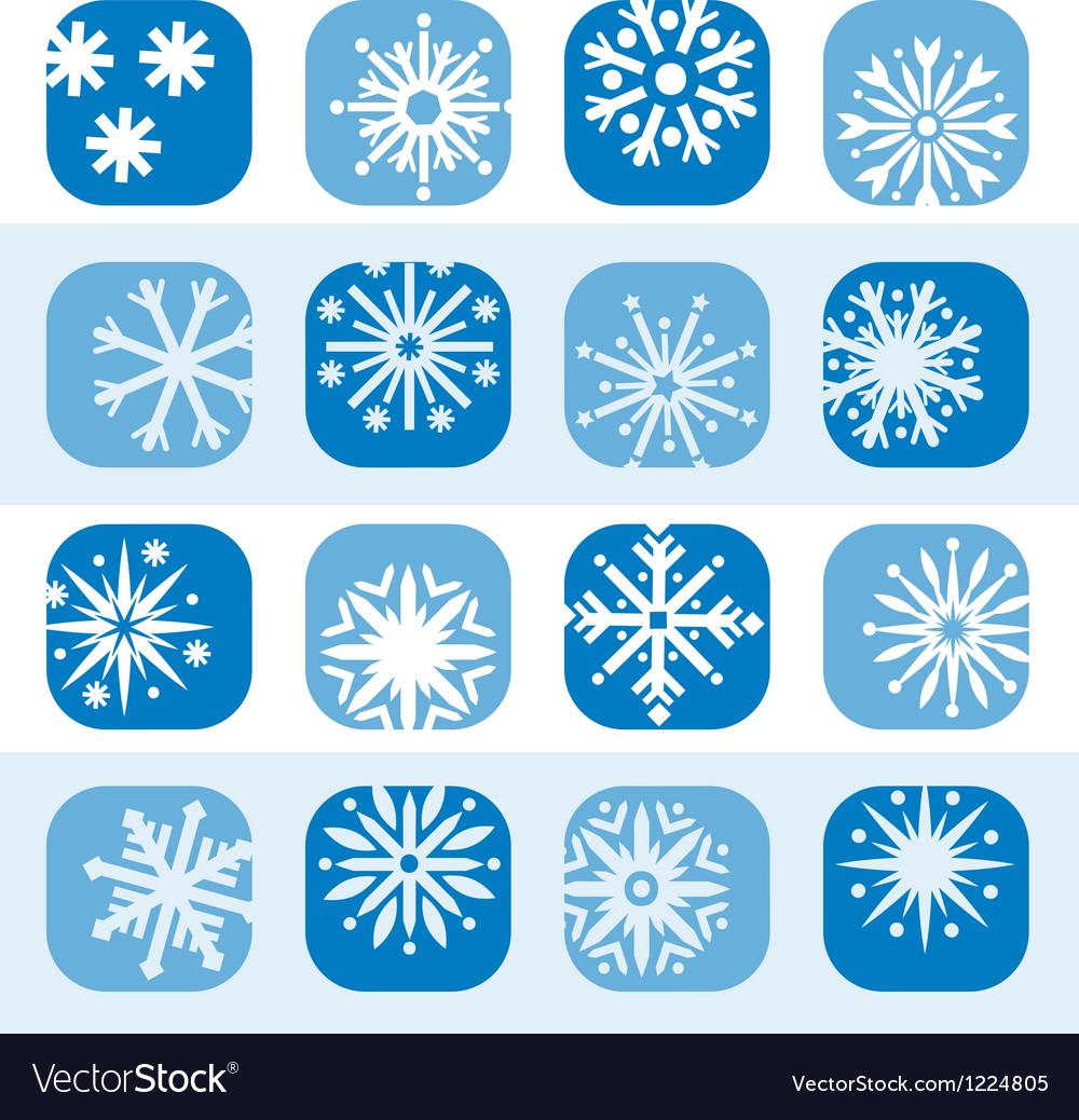 Color snowflake icon set vector | Price: 1 Credit (USD $1)