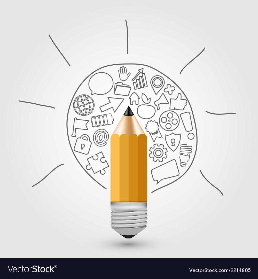 Concept pencil with idea vector | Price: 1 Credit (USD $1)