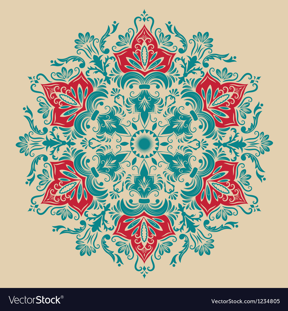 Damask floral arabesque motif vector | Price: 1 Credit (USD $1)