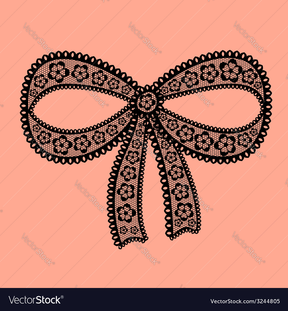 Decorative lacy bow on beige background vector | Price: 1 Credit (USD $1)