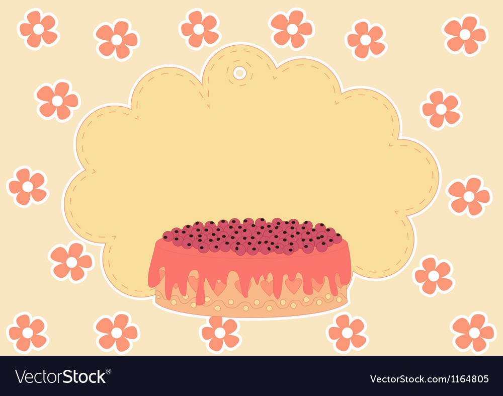 Greeting card with cake vector | Price: 1 Credit (USD $1)