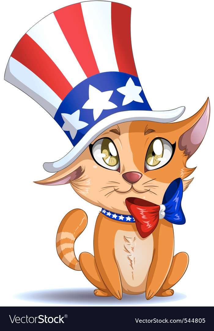 Independence day kitten vector | Price: 3 Credit (USD $3)