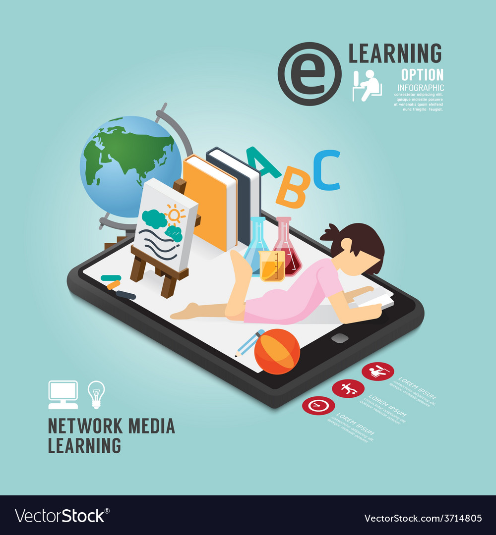 Infographic education media learning template vector | Price: 1 Credit (USD $1)