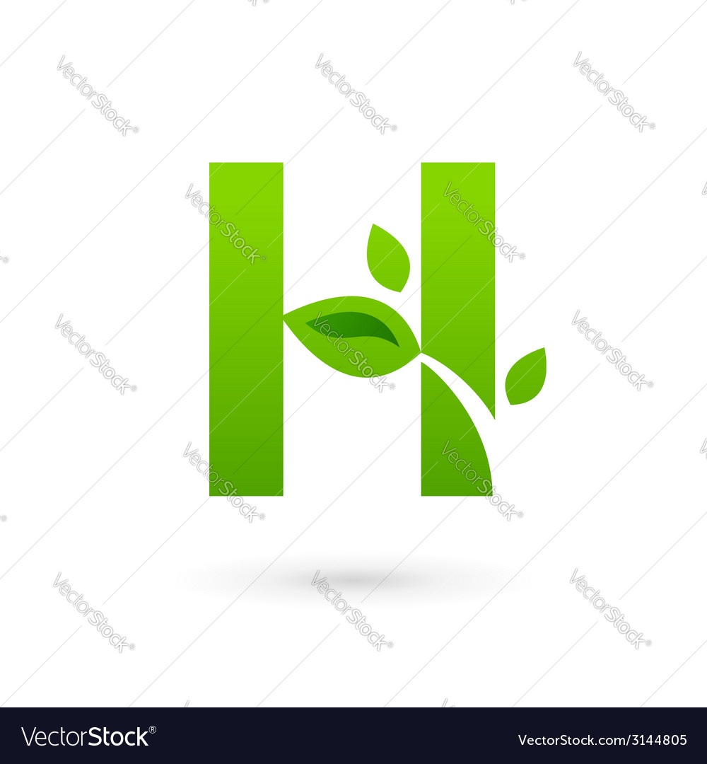 Letter h eco leaves logo icon design template vector | Price: 1 Credit (USD $1)